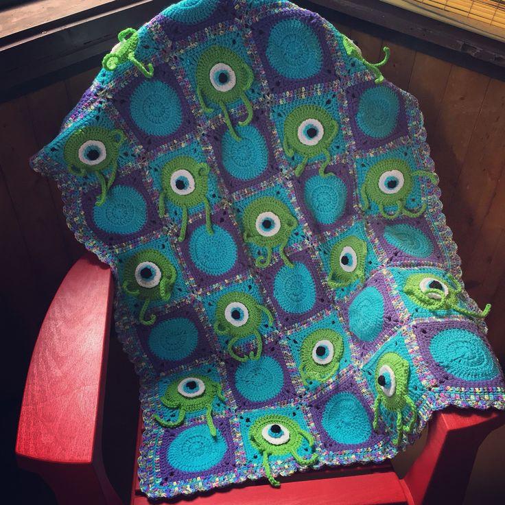 Monsters Inc crocheted blanket made by Anna at Creekwood crochet   www.etsy.com/shop/creekwoodcrochet