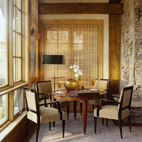 A French Floor Lamp Illuminates An Art Deco Game Table In This Dining Nook    Traditional. Interior ...