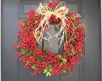 VENDITA, corona di festa di Natale ghirlanda, Berry, ghirlande di Natale, corona di festa, corona di Natale rosso, porta di Natale, corona di Natale porta