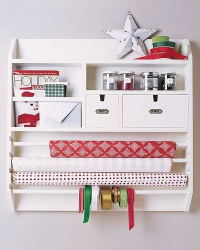 Screw a present wrapping station, use it for a mailing station.  Brown & white paper rolls and packing tape on the dowls.  Then use the rest for the customs forms, stamps, pens & markers, mailing labels, stationary, and envelopes.