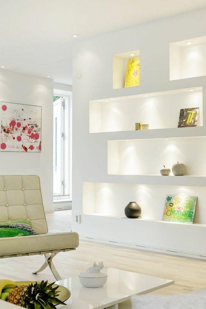 1dekotipps Wohnzimmer Weiser Ledercouch  Holzboden Bildimwohnzimmer Wandnische