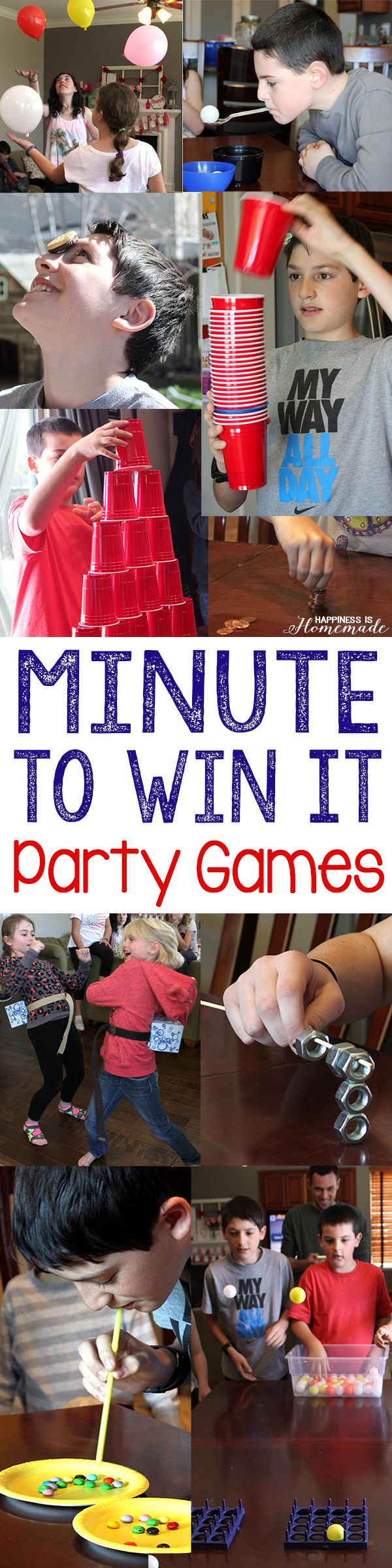 Minute to Win It Party Games by Happiness is Homemade and other great party ideas and party decor!
