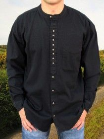 Traditional Grandfather Shirt SW59 Black