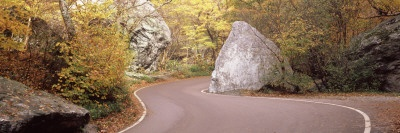 Road Curving around a Big Boulder, Stowe, Lamoille County, Vermont, USA