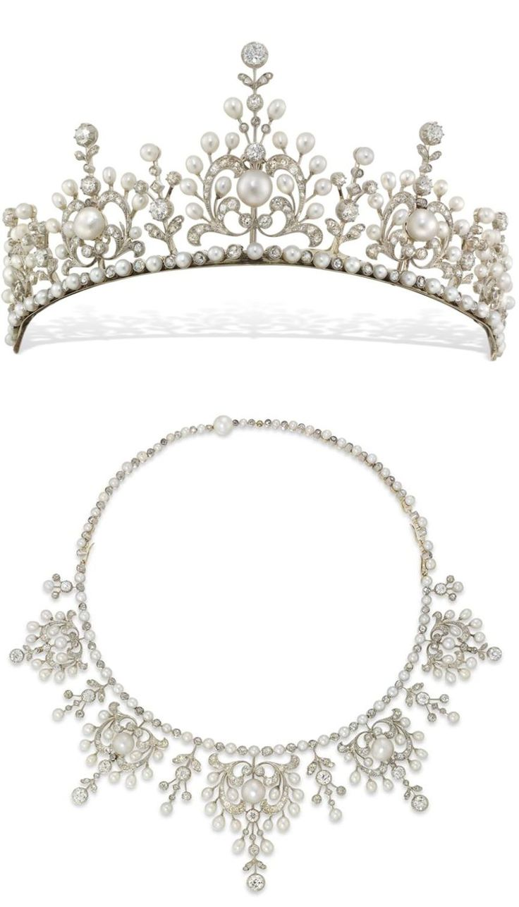 A late Victorian natural pearl and diamond tiara, the tiara comprising five principle sections graduated to the centre, of an ornate openwork scroll & floral design, with a floral drop between each, set throughout with natural pearls & rose-cut & old-cut diamonds, all from a necklet of alternately-set pearls and diamonds, set in silver to a yellow gold mount, with pearl-set snap clasp and safety catch, c1890