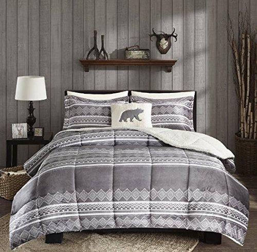 Grey Southwest Comforter Full Queen Set Native American Southwestern Bedding Horizontal Tribal Stripe Geometric Motifs Lodge Indian Themed Pattern