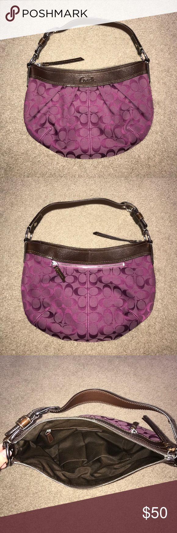 Coach Purple Shoulder Bag w/ Brown Leather Trim Coach purple shoulder bag with brown leather trim, adjustable strap, metal hardware, two open pockets and one zippered pocket on the inside, additional zippered pocket on the back. Bag is pre-owned but still in great condition and comes from a smoke free home. There is some slight wear on the leather but the inside and outside fabric is like new. Check out my other listings if you're also interested in the matching wallet. Feel free to ask any…