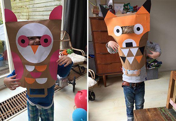 kinderen, spelen, speelgoed, papieren, kartonnen, doos, zak, diy, knutselen, maken, lijmen, idee, tips, vakantie, activiteit, peuter, kleuter, partijtje, verjaardag, kostuum, verkleden, verkleedkleren, verkleedkleding, halloween, carnaval, gekleurd, simpe