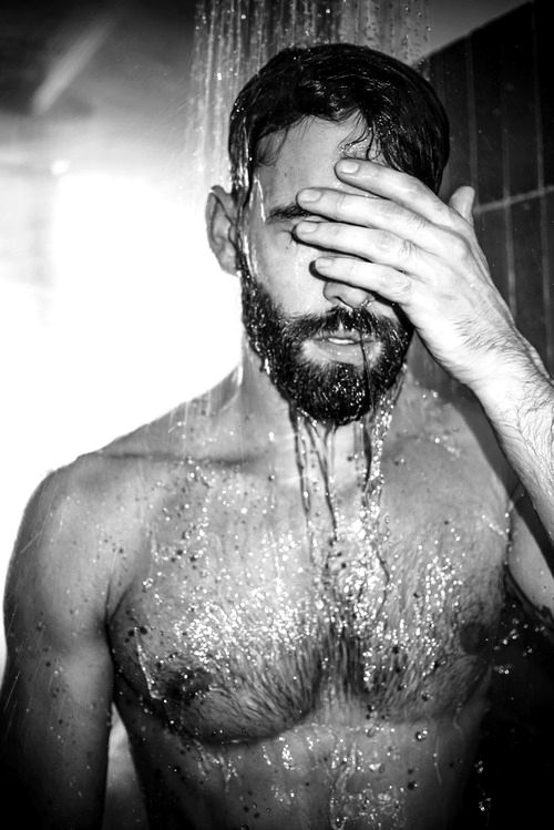 """""""Wide shoulders and chest tapered to a slender waist and narrow hips.  Water ran down the magnificent torso in crystal rivulets..."""" Shay surprises Ian in the shower. #TempestInEden"""