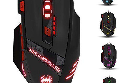 Souris Gamer Filaire, LIHAO Zelotes T90 Souris Gaming Optique avec 6 DPI Réglable 1000-9200DPI, 6 LED Couleur Options, 8 Boutons:…