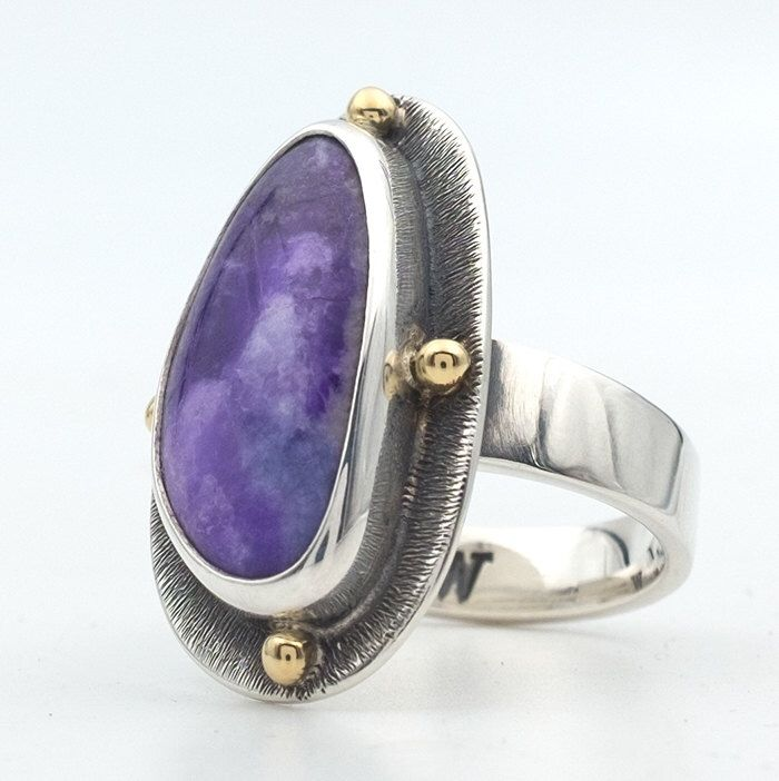 Sugilite Ring, Sterling Silver and Gold Gem Stone Ring, Sugilite Jewelry, Purple Gem Stone Jewelry, HandMade Jewelry, 18K Gold, Southwestern by AztexSilver on Etsy https://www.etsy.com/listing/495407688/sugilite-ring-sterling-silver-and-gold