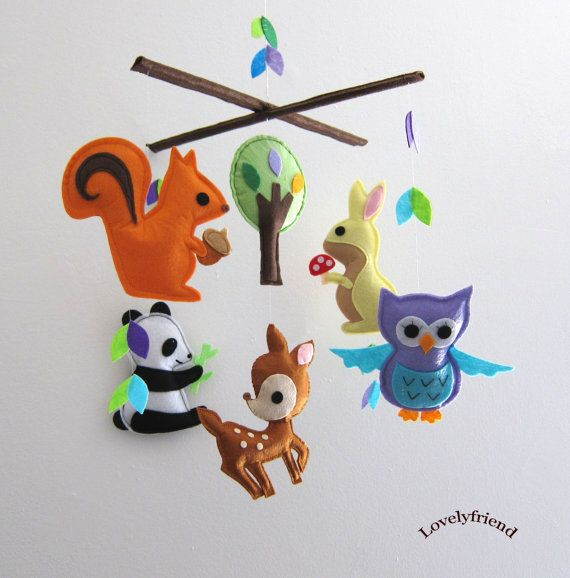 cute woodland felt animal (squirrel, owl, deer) mobile by lovelyfriend on etsy