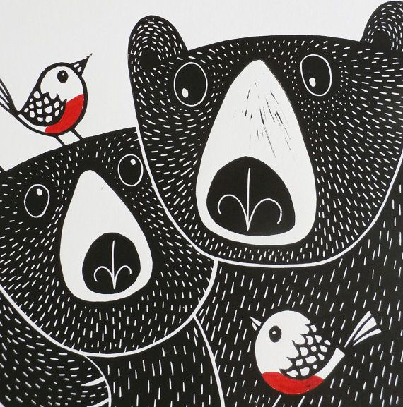 Bears Linocut Print, Bears & Robins, Kat Lendacka, Original Linocut Print, Signed Open Edition, Free Postage, Hand Pulled, Printmaking