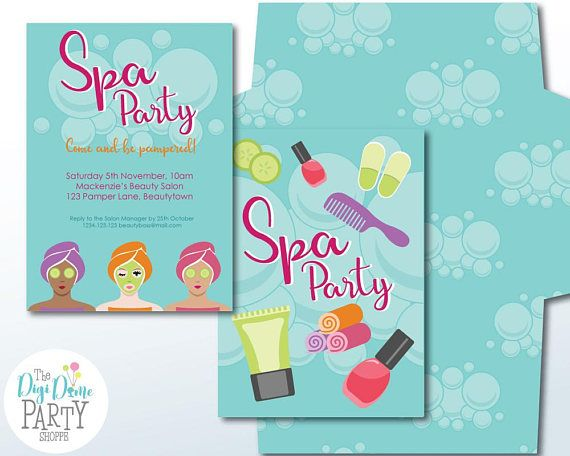 Spa Party Printable Invitation 5x7in. Instant Download and