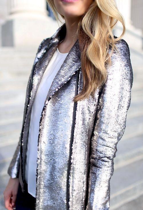 sequined silver blazer