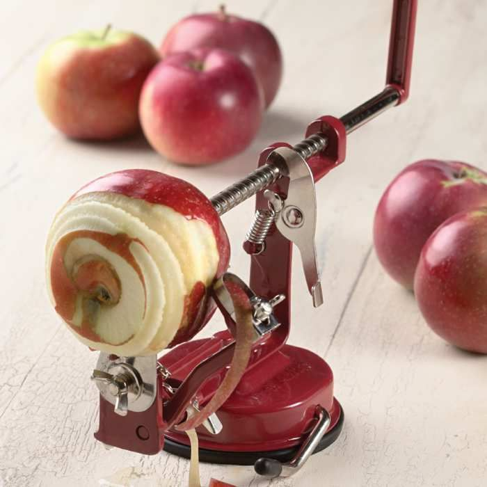 Anchors to countertop with vacuum-grip rubber base, or optional clamp (included).  Adjust to peel-only, if desired, to peel  apples without slicing, or to peel potatoes.