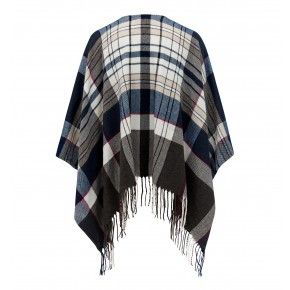 Hollie Tassel & Check Cape Wine/Navy - Womens Fashion | Forever New