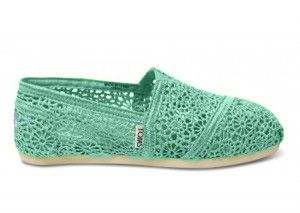 Mint Green Lace TOMS for Bride or Bridesmaids Shoes, Comfortable Flats
