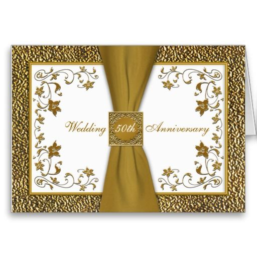 24 best 50th wedding anniversary cards images on pinterest happy printed ribbon floral 50th anniversary invitation greeting card stopboris Gallery