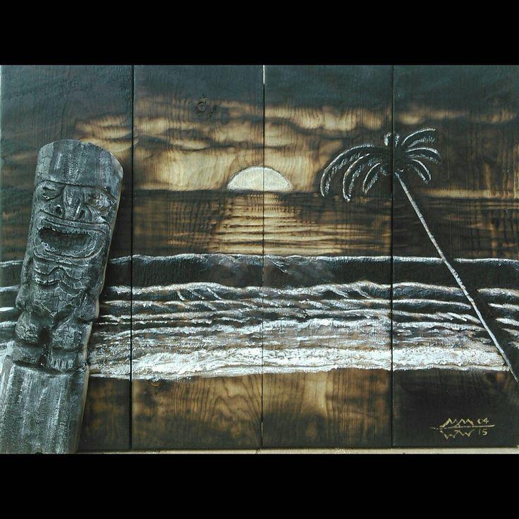 Tiki Art - handmade, one of a kind, tiki art made by me, with tiki carving and beach scene, perfect for tiki bar, pool, cabana, beach house by woodZwayz on Etsy https://www.etsy.com/listing/231571898/tiki-art-handmade-one-of-a-kind-tiki-art
