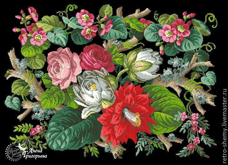 """Схема вышивки """"Водяные лилии"""""""