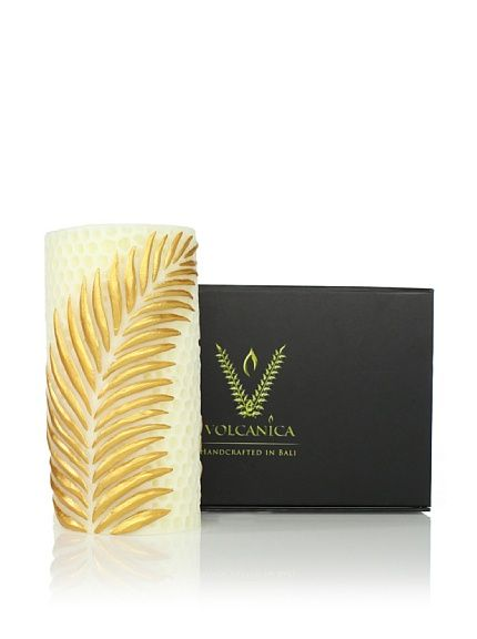 Volcanica Choice Pillar   beautiful creme candle with a hand painted gold leaf - perfect for any room  volcanicacandles.com