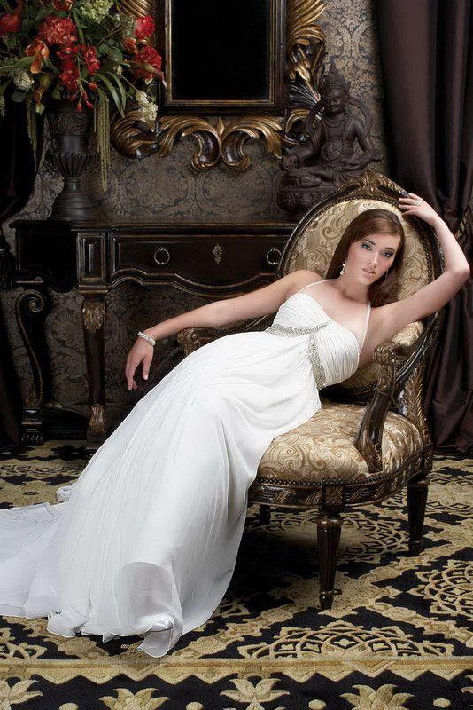 A-line Halter Chapel Train Chiffon Wedding Dress with Beadings