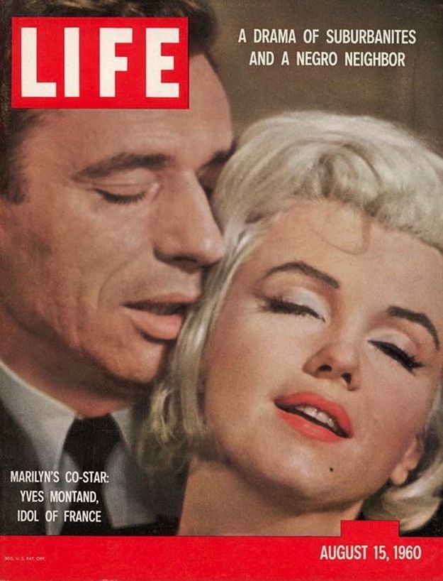 August 15, 1960 - Marilyn and her co-star, French actor Yves Montand, were photographed for the cover as part of a story to promote their upcoming film, Let's Make Love . | Marilyn Monroe's Classic Life Magazine Covers: 1952-1962