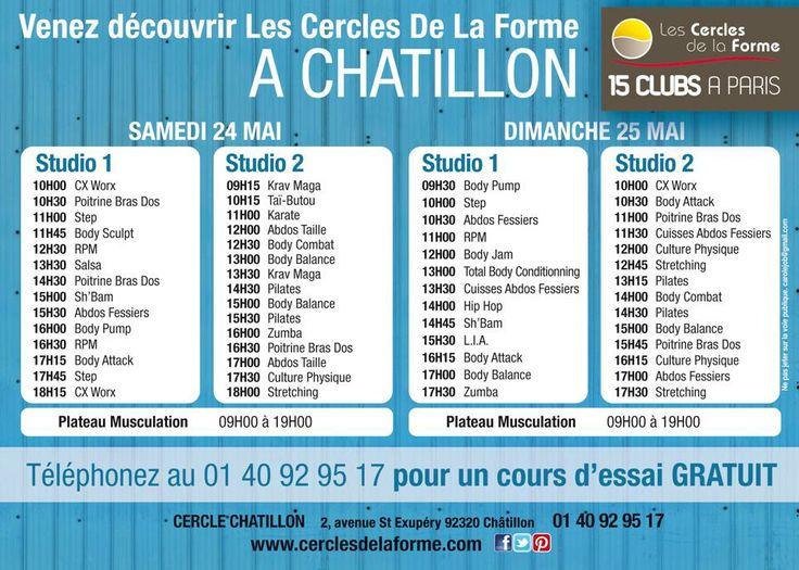 Venez nombreux au Cercle Châtillon ce week-end pour deux journées portes ouvertes exceptionnelles avec une multitude d'activités http://www.cerclesdelaforme.com/fr/club-Fitness-92-Chatillon/  #bodypump #bodyjam #bodybalance #bodysculpt #rpm #sh'bam #artsmartiaux #karaté #kravmage #hiphop