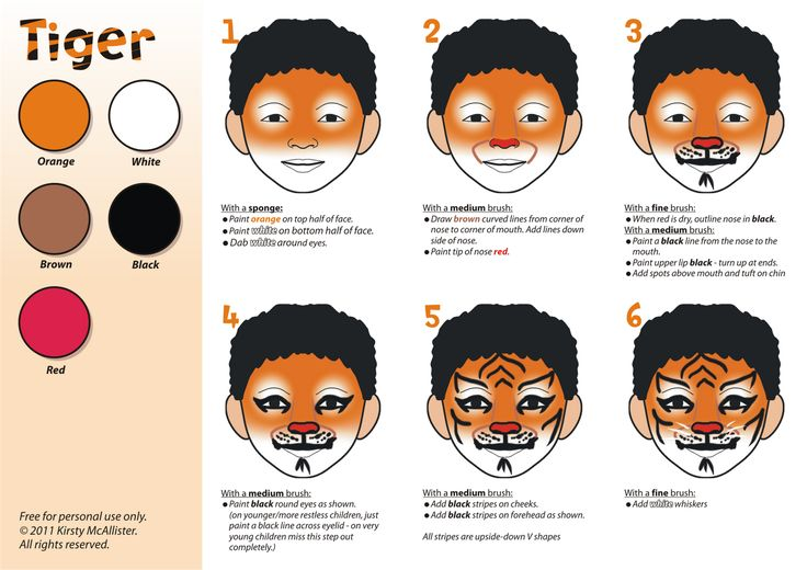 Easy Tiger Face painting for Kids                                                                                                                                                     More