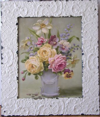 "vintage tin framed ""Cottage Bouquet"" C.Repasy"