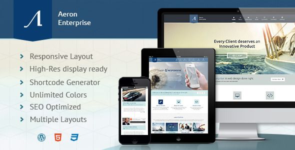 Aeron - Premium Responsive Corporate Theme   http://themeforest.net/item/aeron-premium-responsive-corporate-theme/5919859?ref=damiamio       Aeron is a modern business or corporate WordPress theme which also can be used for aero / avio sites and ship fleets, green technology and sustainable development companies, as well as for law and investment companies. It's made to look awesome on any size of screen. With its 1170 Grid System it truly shines on big screen, and rearranges itself when it…