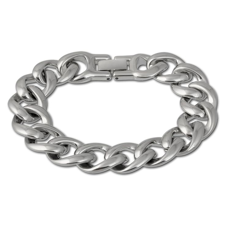 Amello stainless steel chunky curb bracelet, stainless steel elements shiny, 7.08 inch, original Amello ESAX18J8. stainless steel bracelet. the bracelet is available in 2 lengths. size: 7.08 inches. Each jewel comes in a free gift packaging.