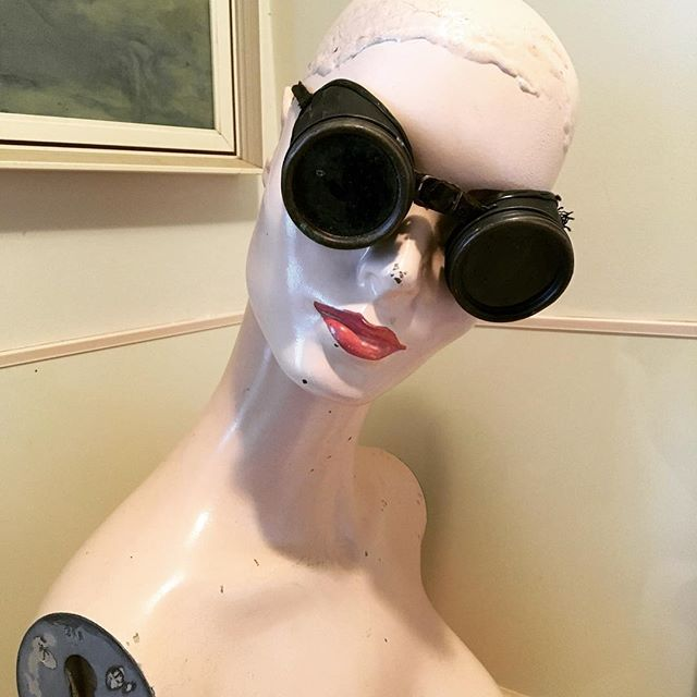 Dolores is very pleased with the goggles I found at the op shop today, said they might tone down some of the sights she sees from her posy in the bathroom...