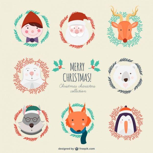Colección linda de personajes de navidad Vector Gratis