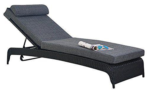 Port Royal Prestige Rattan Garden Furniture Sun Lounger - Black