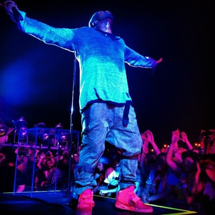Kanye Wears Red Yeezy 2 at Governors Ball