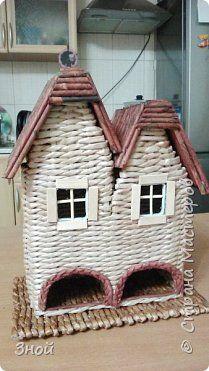 Поделка изделие Плетение Чайный домик Трубочки бумажные фото 2