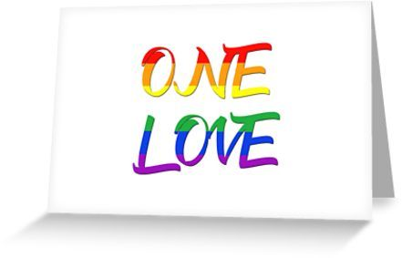 One Love Greeting Card / Postcard by Scar Design.  #typographic #onelove #lgbt #pride #couples #card #romance #pop #rainbowflag #rainbow #postcard #greetingcard #colorful #life #love #loveislove #gay #lesbian #trans #birthdaycard #anniversarycard #wishes #pride #festiival #pride #cool #awesome #family #onlineshopping #giftsforhim #giftsforher #fashion #style #design #cartepostale #39 #gaypride #lesbianpower #gaymarriagecard #gaymarriage #homegifts #gaydads #lesbianmoms  #feminist #shopping