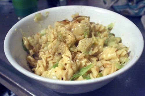 Carbalicious! Potatoes, pasta and cabbage. Need an easy, hearty comfort dinner? This will hit the spot.