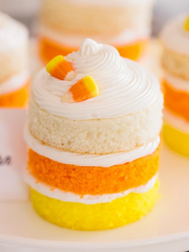 HGTV's Halloween and Thanksgiving entertaining experts share an easy recipe for mini layer cakes that combine the familiar yellow, orange and white of candy corn.