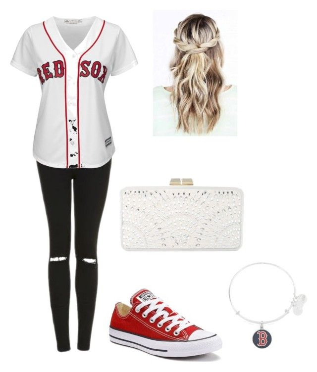 """Cousin at a Red Sox game today!"" by emmantanz ❤ liked on Polyvore featuring Topshop, Majestic, Alex and Ani, Converse and BCBGMAXAZRIA"