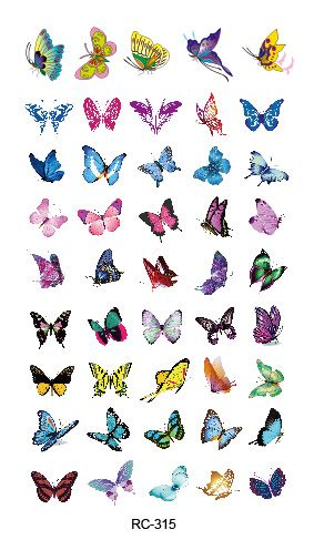 RC2315 2015 Waterproof Temporary Tattoo Stickers Glitter Colorful Butterfly Fake Tattoo Water Transfer Tattoo Taty Body Art