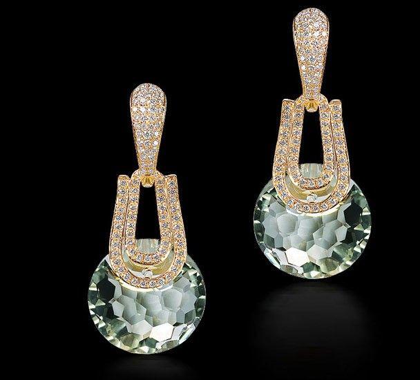 Green Topaz & Diamond Earring - category
