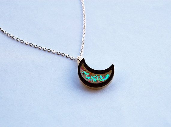 174 best rosa pietsch jewellery design images on pinterest holographic mini crescent moon pendant necklace laser cut acrylic resin with rainbow holograph mozeypictures Image collections