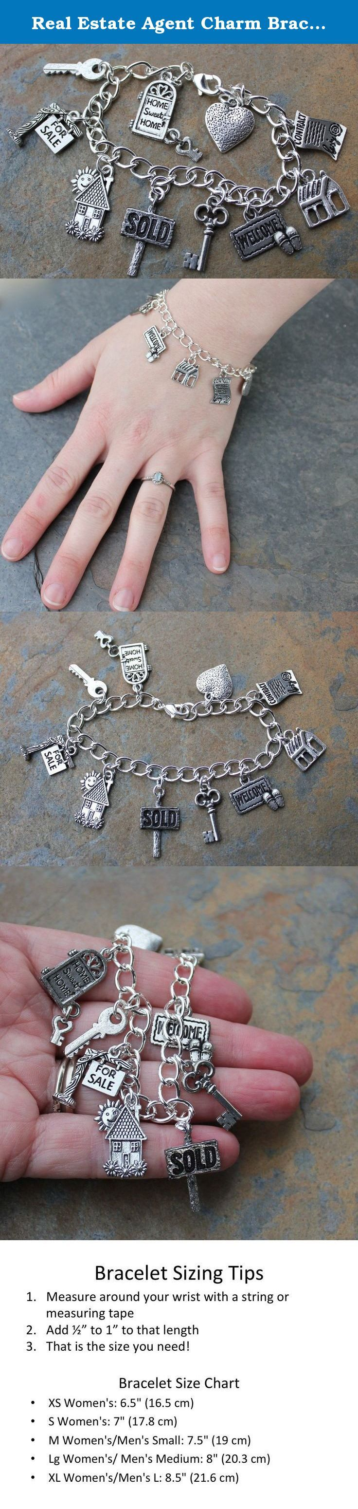 Real Estate Agent Charm Bracelet- Silver Plated Chain with Pewter House, for Sale Sign, Sold, Key Charms - Size XS S M L XL. Here is a perfect charm bracelet for a realtor or new homeowner! It features chunky silver plated chain and 10 pewter charms including home sweet home door with key, modern key, for sale sign, cottage, sold sign, old fashioned key, welcome mat, house, contract, and heart.. Very cute and fun! The pewter charms are made in the USA and contain no lead or nickel. The...