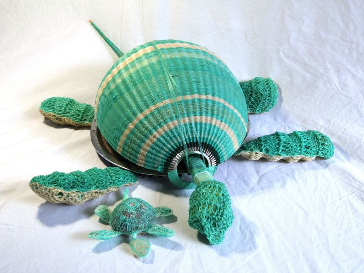 Recycled ghost net turtles