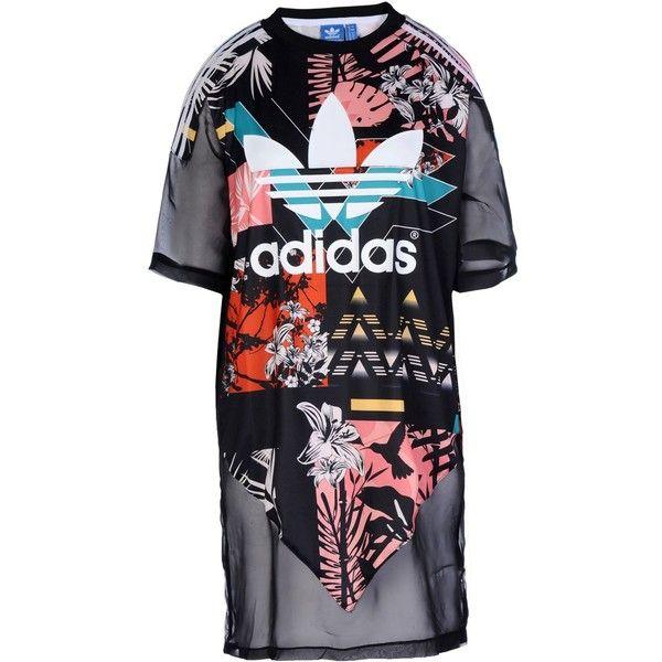Adidas Originals Short Dress (76 AUD) ❤ liked on Polyvore featuring dresses, black, multi color dress, short dresses, multicolored dress, short sleeve mini dress and multi color mini dress