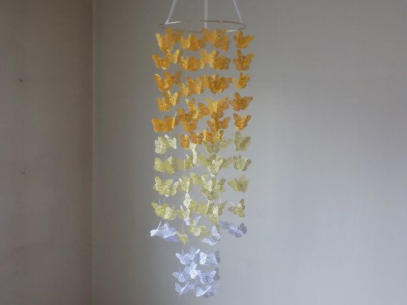 Baby nursery mobile crib mobile Butterfly yellow by KraftynKatchy