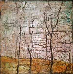 "Twilight Trees  acrylic, ink, wax, plaster of paris on burlap and canvas,  12"" x 12"""